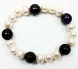 Pulsera perla y agata negra