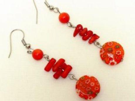 Pendientes coral rojo +murano