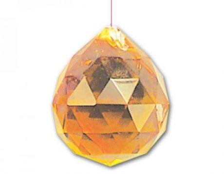 Esfera cristal facetado amarilla 30mm