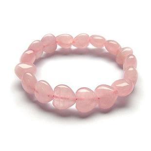 Pulsera corazones cuarzo rosa