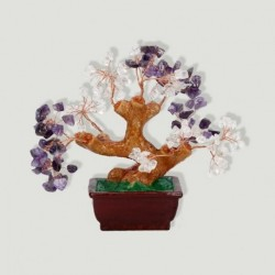 Bonsai amatista y cristal roca