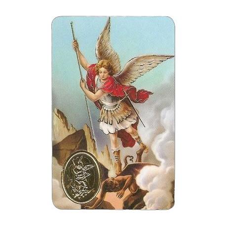 Estampa con medalla Arcangel Miguel