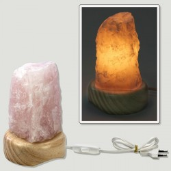 Lámpara cuarzo rosa bruto