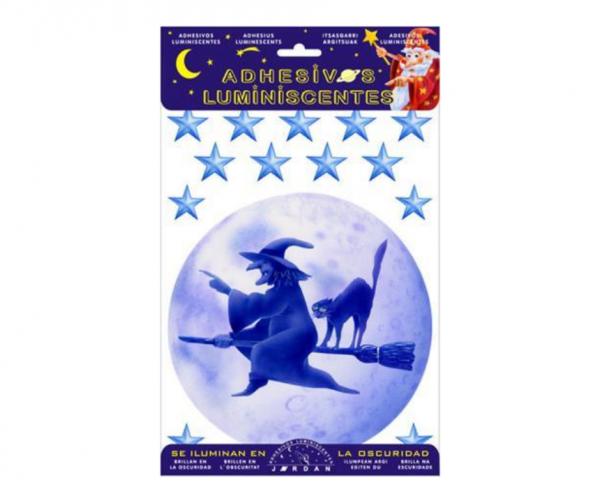 Ahesivos luminiscentes brujas y estrellas