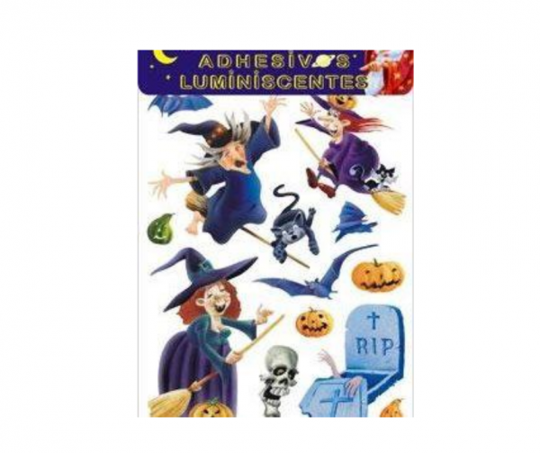 Adhesivos luminiscentes bruja halloween