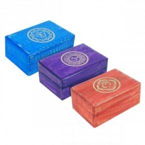 caja madera simbolos chakras