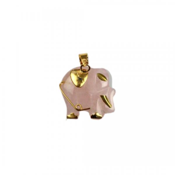 Colgante elefante cuarzo rosa