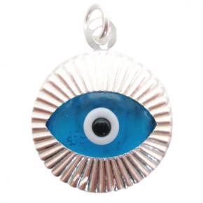 Colgante ojo turco redondo plata