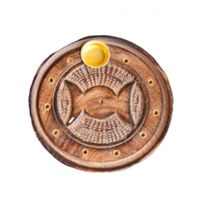 Incensario redondo madera triple diosa