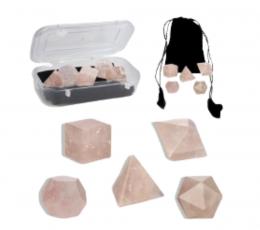 Set poliedros cuarzo rosa
